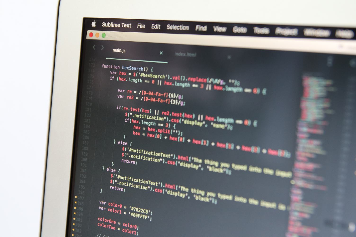 Close Up of JavaScript Code on Monitor Screen