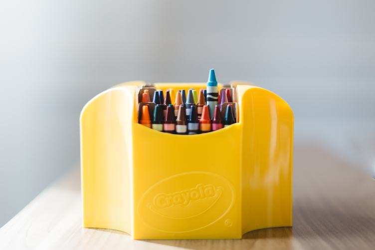 Crayons in Yellow Box