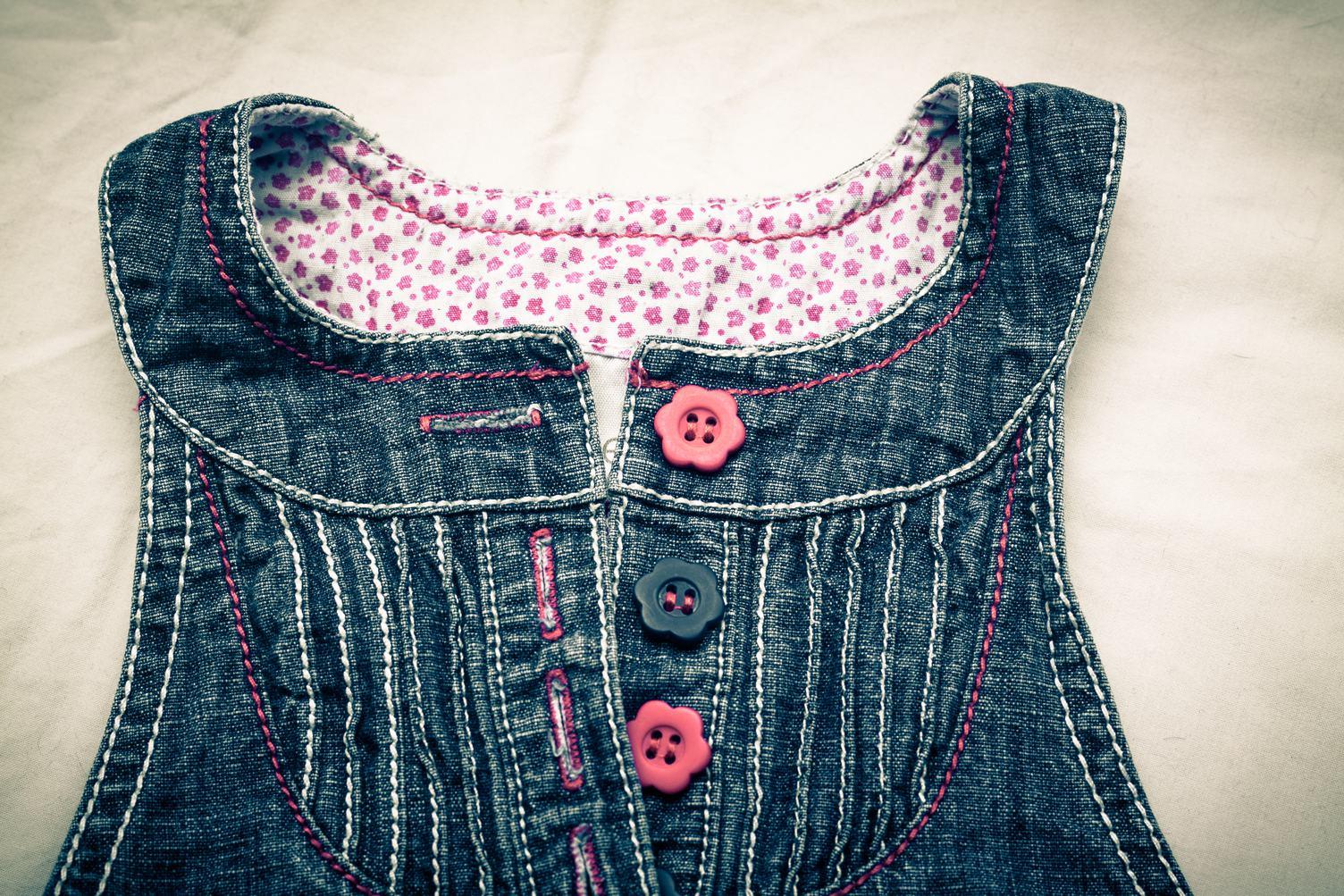 Baby Girl Jeans Dress Closeup