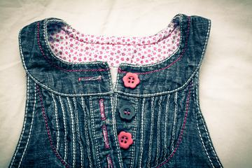 Baby Girl Jeans Dress Closeup