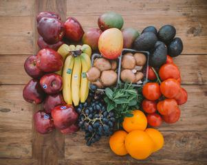 Fruits and Vegetables on Wood Table
