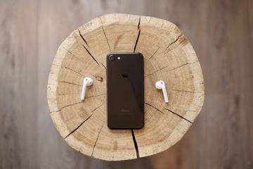 AirPods and iPhone on a Tree Trunk
