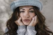 Brunette Wearing Gray Hat
