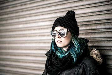 Girl with Blue Hair Wearing Hat and Sunglasses