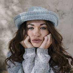Brunette Wearing Gray Hat