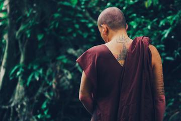 Buddhist Monk Contemplating