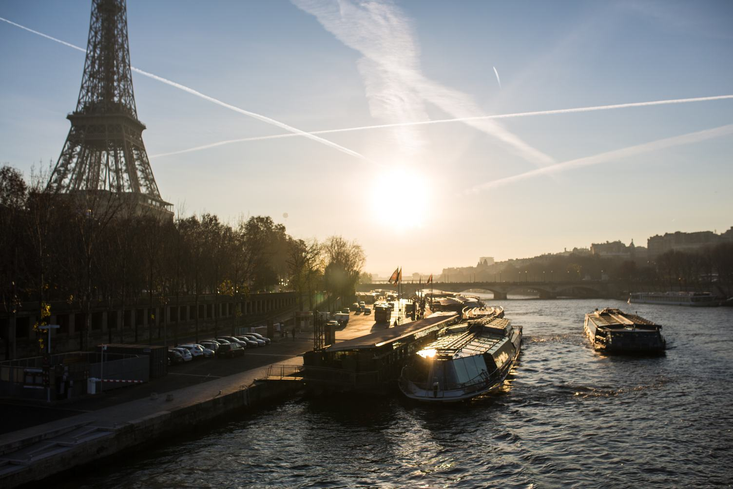 Boats on the Seine, Eiffel Tower in the Background, Paris, France