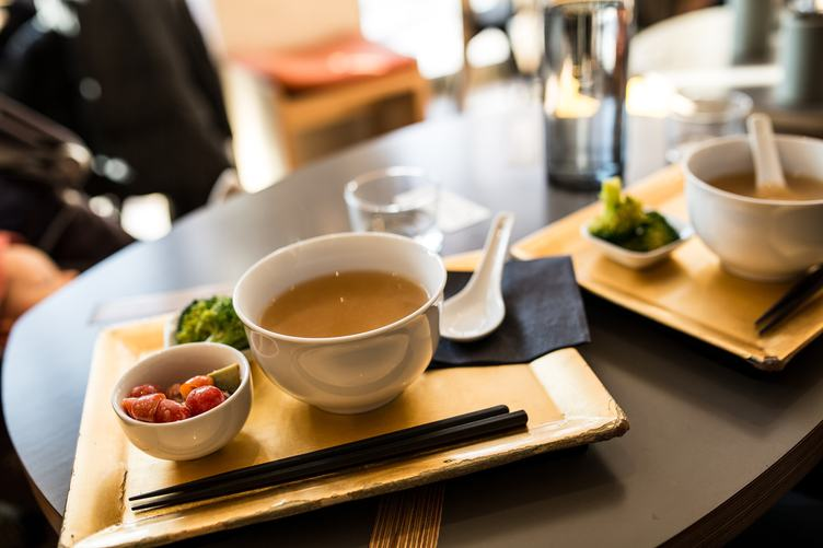 Miso Soup in a Bowl in Asian Restaurant