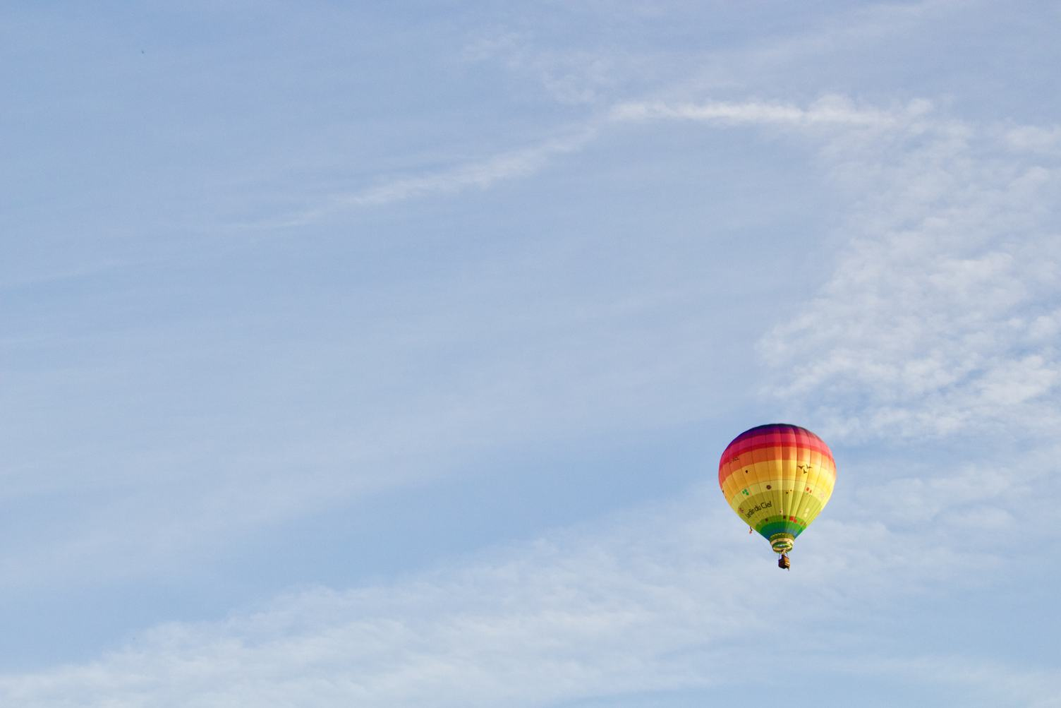 Single Colorful Hot Air Balloon in the Sky