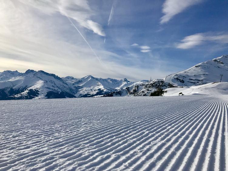 Perfectly Groomed Fresh Ski Piste