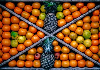Tangerine and Pineapple Fruits Composition