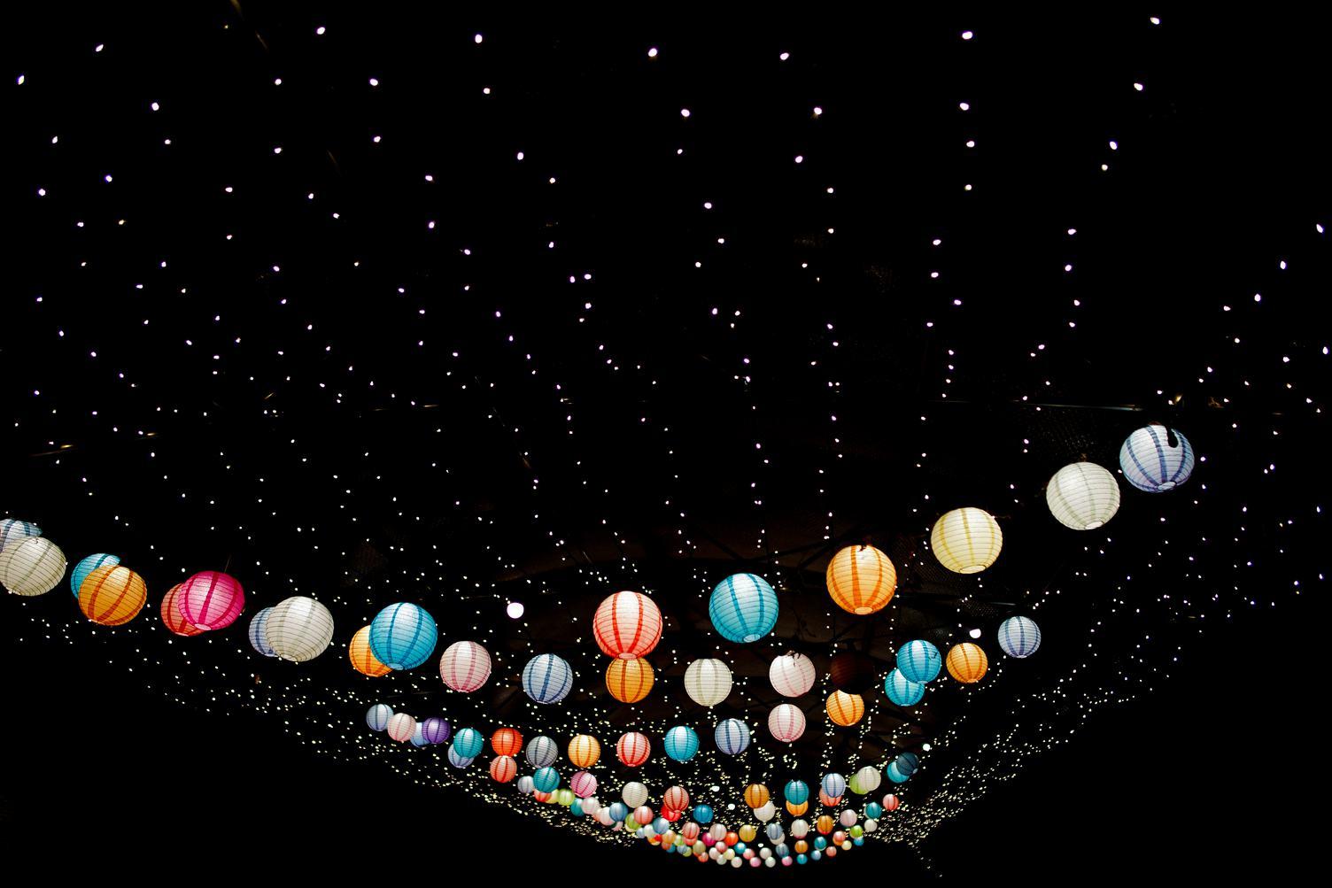 Hanging Colorful Paper Lanterns