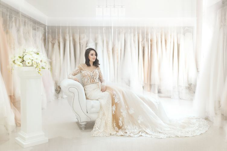 Portrait of Bride Sitting on a Couch