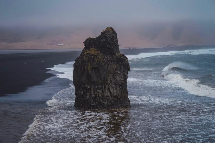 Unique Black Sand Beach Landscape with Basalt Column