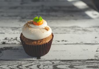 Carrot Cupcakes with Cream on Top
