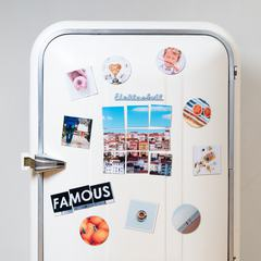 Front View of a Retro Fridge with Magnets