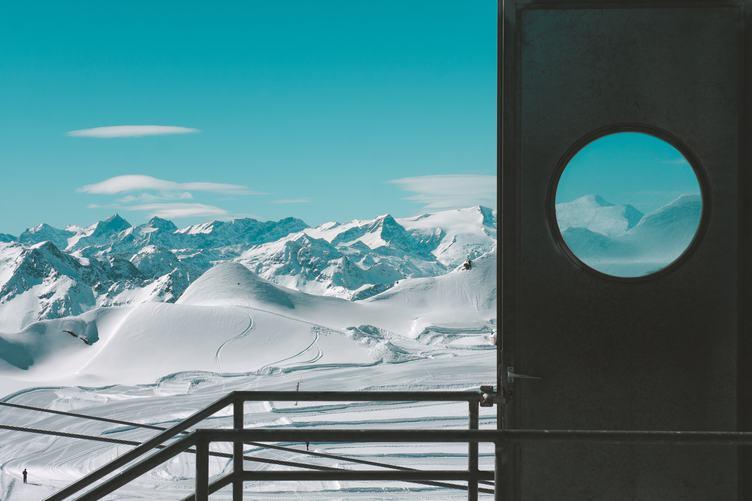 Winter Mountains and Opened Door