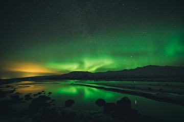 Beautiful Lights Aurora Borealis over Lake