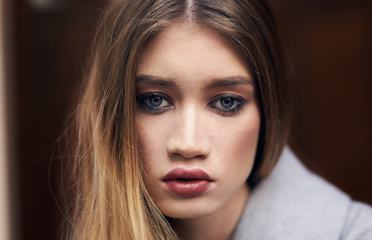 Portrait of Beautiful Woman Model with Makeup