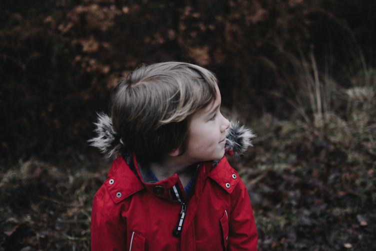 Little Boy in Red Winter Coat