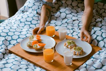 Delicious Breakfast for Two in Bed