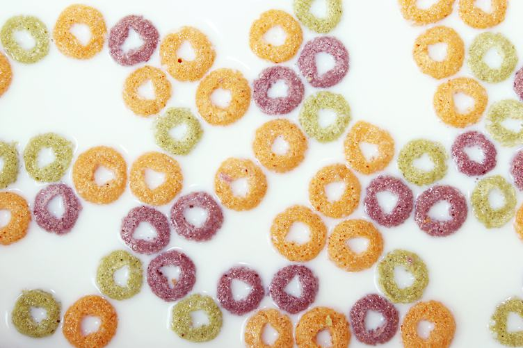 Breakfast Cereal Rings with Milk Texture