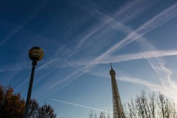 Traces of Planes over Eiffel Tower, Paris, France