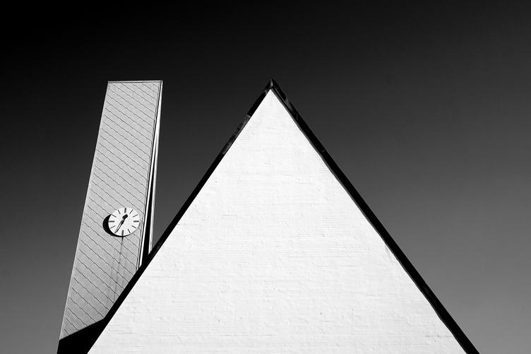 Roof with Clock Black & White Photo