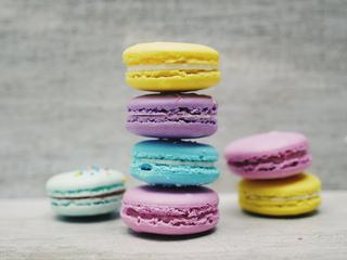 Collection Set of Colorful French Macarons