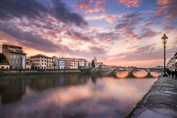Sunset at the River in Historic Italian Town