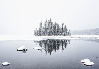 Winter Landscape Lake Covered with Snow