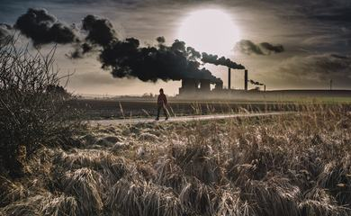 Industrial Landscape with Smoking Chimneys CHP