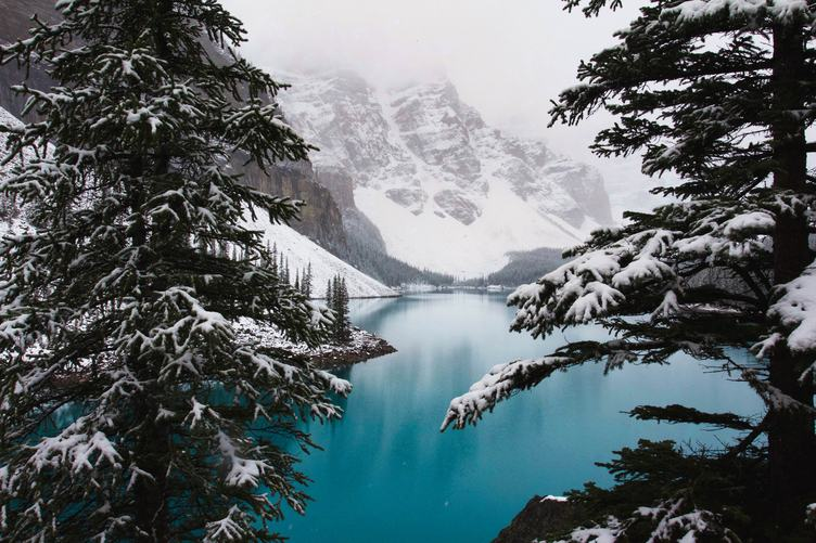 Winter Mountain Landscape with Lake