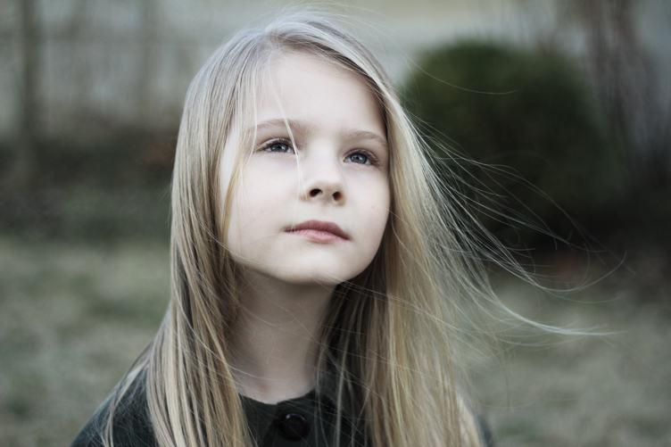 Pensive Little Girl Portrait