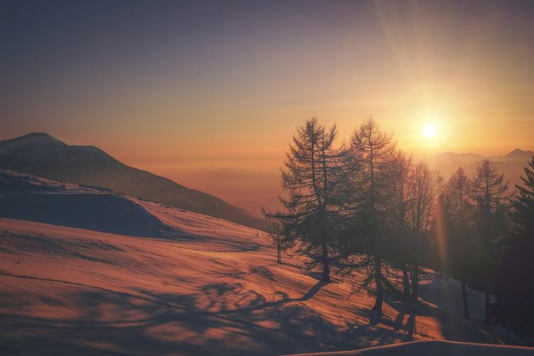 Winter Landscape on a Sunset Mountains