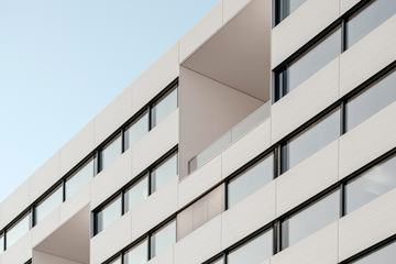 Modern Office Building White Facade with Windows