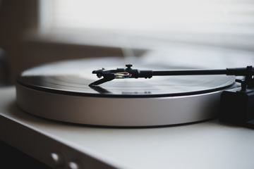 Closeup of Gramophone with a Vinyl Record
