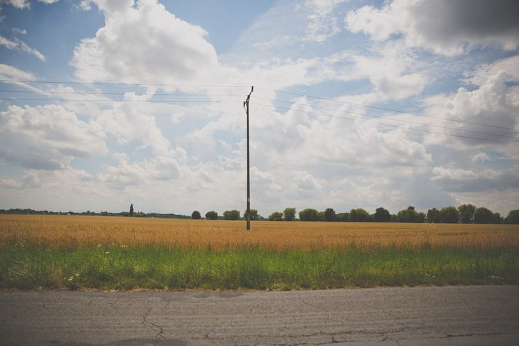 Beautiful Landscape - Golden Wheat Field by Country Road