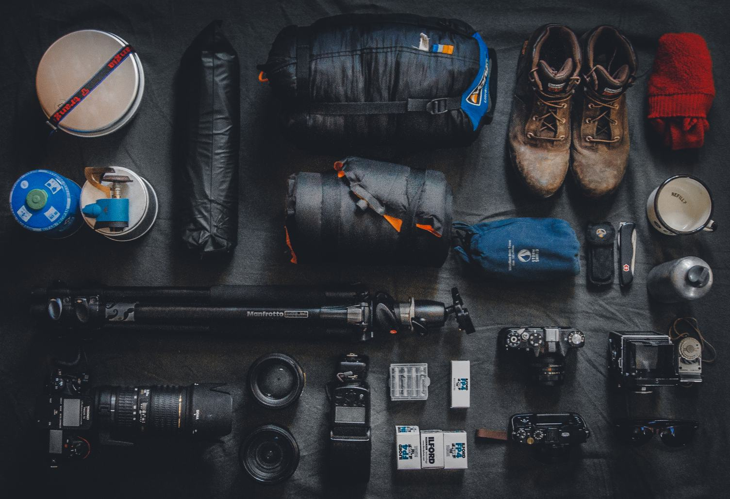 Top View of Equipment for Photographer Adventure Expedition
