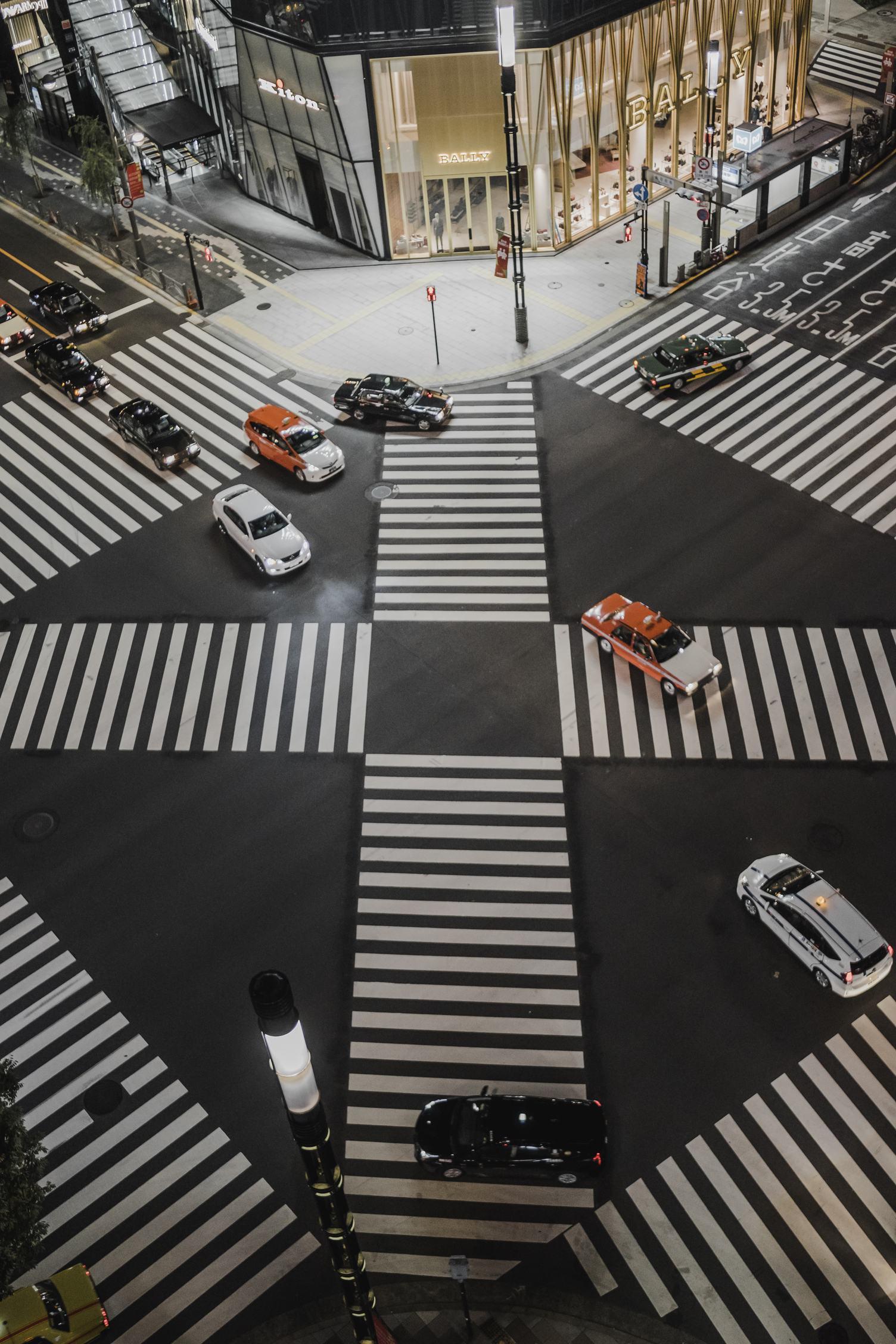 Japan Tokyo Ginza Crossing at Night