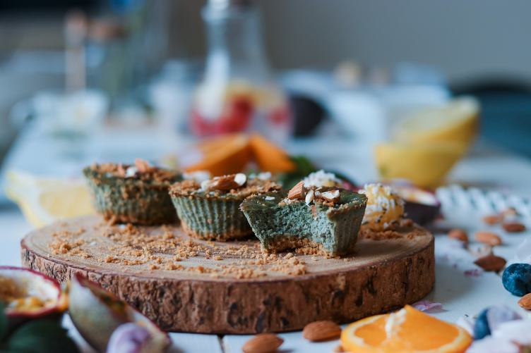 Muffins with Almond Topping on the Table