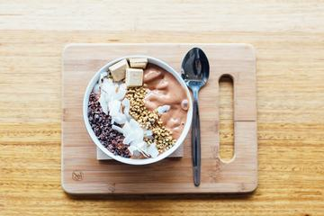 Chocolate Bowl on Wooden Board Delicious Sweet Breakfast