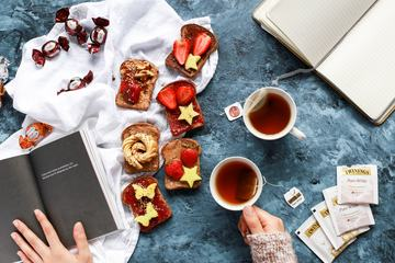 Sweet Breakfast Toast with Fruits and Tea Top View