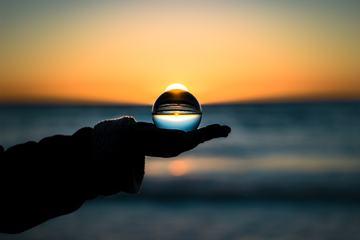 Sunset Seen though a Glass Ball