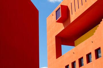 Orange Facade of a Modern Building