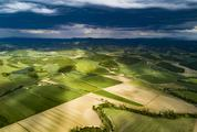 Aerial View of Farmland with Pretty Wooded Boundaries