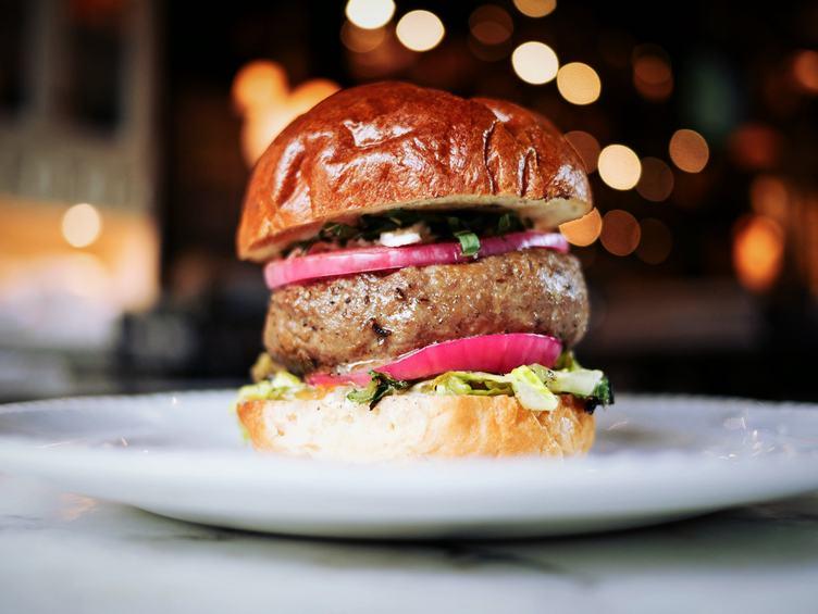 Fresh Tasty Burger on White Plate