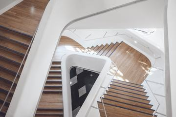 White and Wooden Stairs in Modern Interior