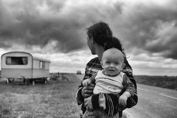 Black & White Image of Mother and her Baby Son Outdoors
