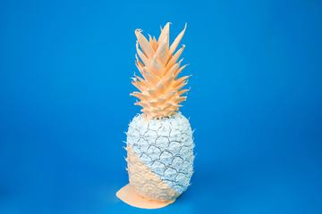 Pineapple Fruit Covered with Paint on Blue Background
